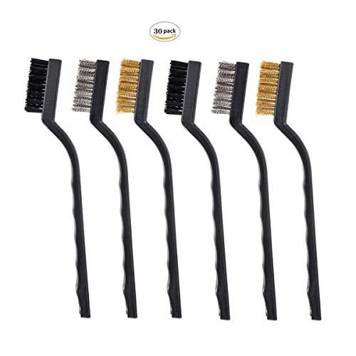 DXLing 18 Pezzi Mini Wire Brush Spazzole Metalliche per Muratura con Setole in Acciaio Inossidabile Ottone e Nylon e Manico Curvo Spazzola per Pulire Resti di Saldature e Ruggine