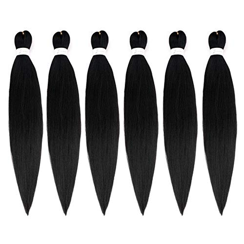 26Inch EZ Braid Professional Pre Streched Braiding Hair Hot Water Setting Synthetic Fiber Easy Braids Hair Black Color Crochet Braids Hair Extensions 6Packs/Lot (1B#)