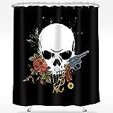 Wasserrhythm Halloween Shower Curtain Skull Gun Rose Shower Curtains Waterproof Polyester Fabric Shower Curtain 72' x 72'