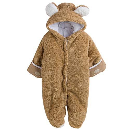 Topsale-ycld Pasgeboren Baby Leuke Beer Oor Jumpsuit Koraal Fleece Warm Hooded Romper Outfits 0-12 Maand 90 BRON