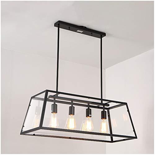 Amerikanische Kücheninsel Kronleuchter, Rechteckige Schmiedeeiserne Hängelampe, Retro Acryl Edison Kreative Beleuchtung (mit Vier Lichtern)