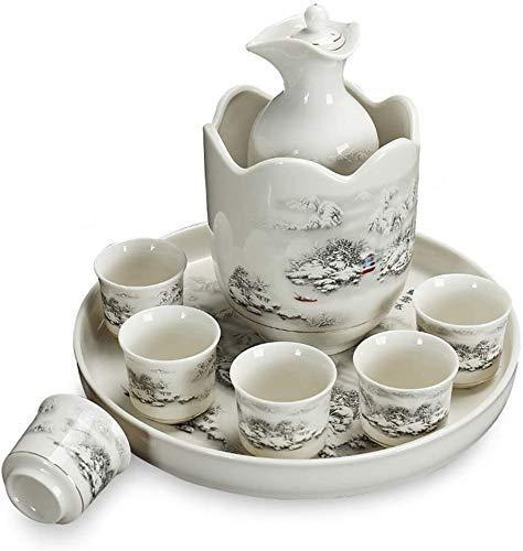 Juego de Sake de 9 Piezas de Barm, Juego de Copas de Vino de cerámica Japonesa con Calentador y Bandeja, Taza de cerámica de Porcelana Tradicional, Juego de Sake para Familiares y Amigos com