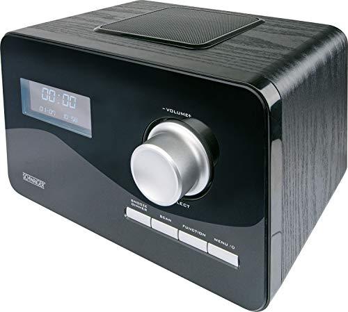 Schwaiger DAB+/FM radio DAB300513 houten behuizing met LCD-display, wekker, afstandsbediening, bestelbare zendertoetsen, AUX-IN zwart
