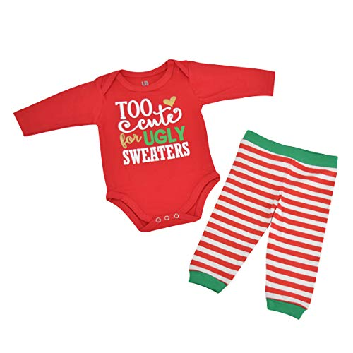 Unique Baby Girls Ugly Sweater Christmas Layette Set (12 Months) Red