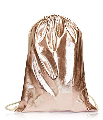 Beutel Aufdruck Tasche Rucksack Jutebeutel Muster Hipster Turnbeutel Gym Stringbags Bag, Unisex (Antik-Gold/Metallic)