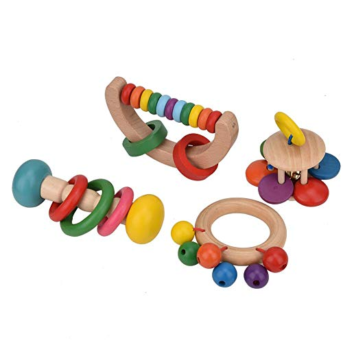 Check Out This Jimfoty Baby Rattles Toys, Wooden Colorful Learning Toy Non-Toxic & Safe 4Pcs Early E...