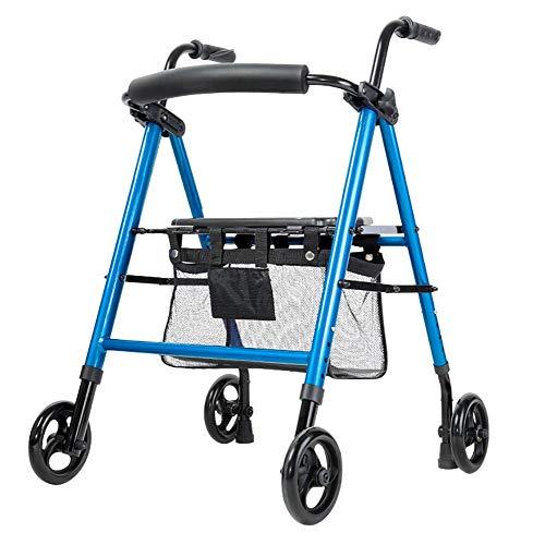 Andador Andadores para Ancianos Andador con Ruedas para Ancianos, Plegable y Liviano, con 4 Ruedas Grandes y Respaldo, Step Assist Portátil para Todo Terreno Al Aire Libre