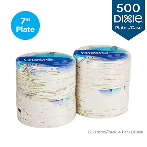 Dixie 6 7/8' (17.4 cm) Medium-Weight Paper Plates by GP PRO (Georgia-Pacific), Pathways, UX7WS, 500 Count (125 Plates Per Pack, 4 Packs Per Case)