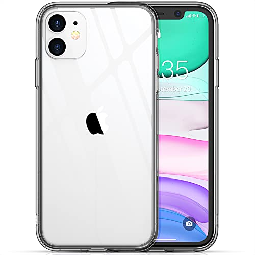 Temdan Clear Case Designed for iPhone 11 Case, [Not Yellowing] [Scratch Resistant] [Military Grade Drop Tested] Shockproof Protective Phone Case Slim Thin Cover for iPhone 11 6.1 inch (Black)