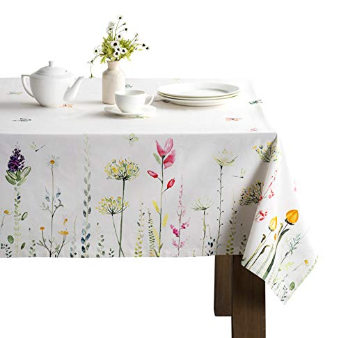 Maison d' Hermine Botanical Fresh 100% Cotton Tablecloth for Kitchen | Dining | Tabletop | Decoration | Parties | Weddings | Spring/Summer (Rectangle, 60 Inch by 90 Inch). (Kitchen)
