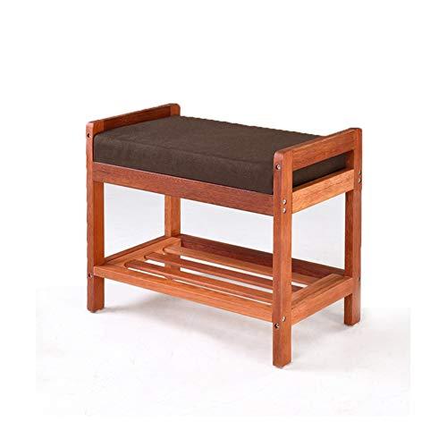 Taburete para cambiar los zapatos, de madera maciza, multifuncional, doble zapatero para sala de estar, asiento pequeño, taburete de almacenamiento simple taburete europeo (color: #2)