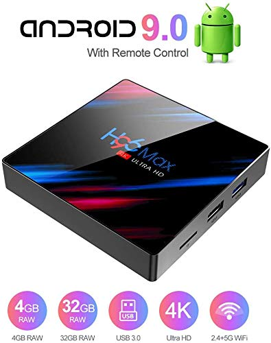 TV Box Android 9.0 TV Box Smart Media Box 4GB RAM 32GB ROM RK3318 Quad Core Bluetooth 4.2 WiFi 2.4G & 5G Ethernet 1USB 3.0 & 1USB 2.0 Set Top Box Support 4K Ultra HD Internet Video Player