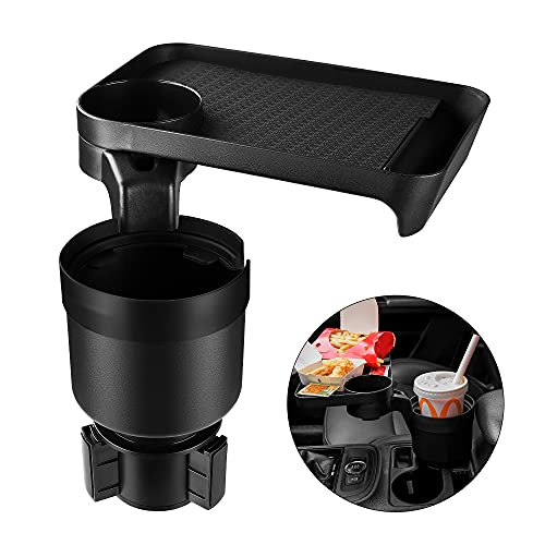 """Car Cup holder Expander & Tray for Compatible with Yeti 20/26/30 oz, Hydro Flasks 32/40 oz, Nalgenes 30/32/38/48 oz, Camelbak 32/40 oz, Large Bottles in 3.4""""-3.7"""" Diameter. cup holder expander for car"""