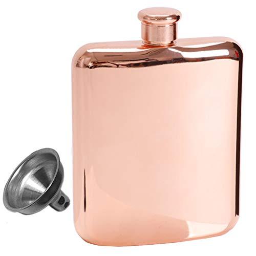 Yousiju Petaca con Embudo Botella de Bolsillo de Acero Inoxidable de 7 oz para Licor de Whisky Botella de Vino portátil Cuadrada chapada en Oro Rosa