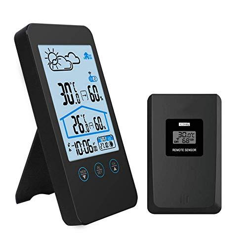 MKKSLR Digital LCD Thermometer Hygrometer Villa Praktische Wetterstationen Kabellos mit Außensensor Barometer Hintergrundbeleuchtung Zeitanzeige Mondphase Außenthermometer Radio für Innen und Auß