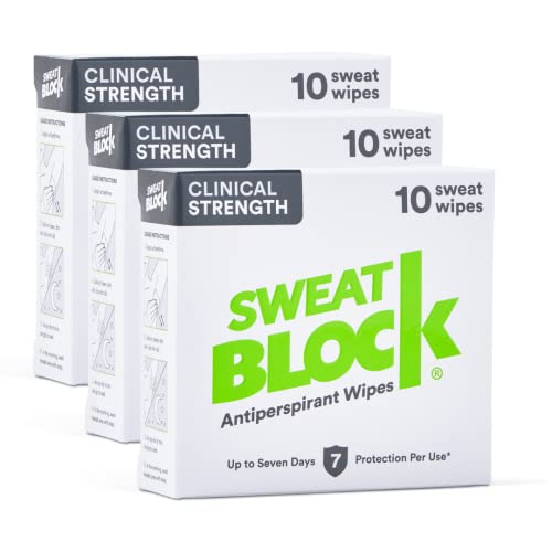 SWEAT BLOCK Antiperspirant (3 Box Deal) - Clinical Strength Hyperhidrosis Antiperspirant - Reduce Underarm Sweat Up To 7-days per Use - Prescription Strength Sweat Wipe To Stop Excessive Sweating