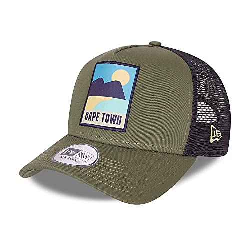 New Era Cape Town Summer Patch Olive A-Frame Adjustable Trucker Cap - One-Size