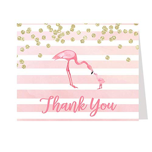 Flamingo Thank You Cards Baby Shower Let's Flamingo Folding Thank You Notes Bridal Shower Birthday Party Pink Girls It's A Girl Mommy and Me Flamingo Watercolor Thanks Sprinkle (50 count)