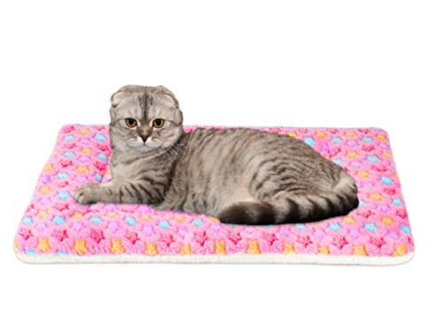 Ultra Soft Pet (Dog/Cat) Bed Mat with Cute Prints   Reversible Fleece Dog Crate Kennel Pad   Machine Washable Pet Bed Liner (X-Small, Pink)