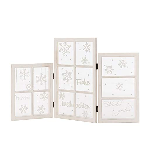 Pureday Weihnachtsdeko - Dekoobjekt Fenster-Paravent X-Mas - Holz Glas - Weiß - Breite ca. 120 cm
