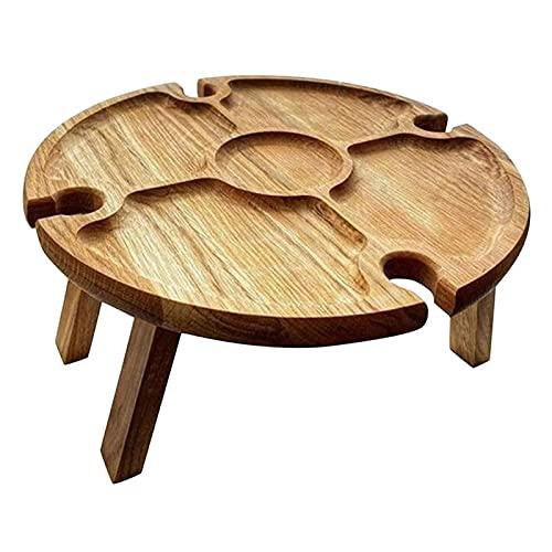 Mesa portátil de picnic de vino, mesa plegable con botella de vino y soporte de vidrio, bandeja de mesa de queso para acampar al aire libre y eventos