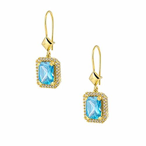 aion Damen Ohrhänger - Ohrringe Gold 585 14 Karat Gelbgold Synthetisch Aquamarin weiße Zirkonia Prinzess Design