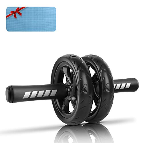 XMIAO Ab Roller Wheel, Ab Wheel with Resistant Band,Home Abdominal Exercise Equipment Core Workout Machine with Heavy Duty Non-Slip Rubber Wheel Foam Padded Performance Handles,Black