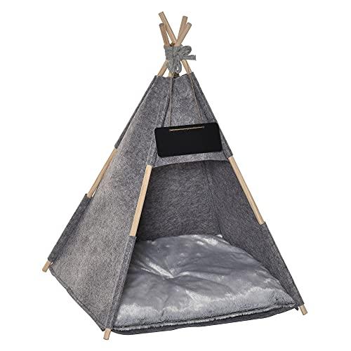 Tente tipi pour Animaux - Teepee Chat ou Chien - Coussin épais Grand Confort Inclus - Structure Bois de pin Feutre Peluche PV Gris