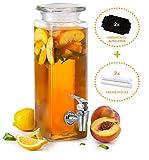 Mary´s Kitchen Tools Eckiger Getränkespender 2,5 Liter aus Glas | mit Zapfhahn | Retro...