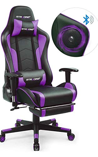 GTRACING Gaming Chair with Footrest and Bluetooth Speakers Music Video Game Chair Heavy Duty Ergonomic Computer Office Desk Chair Purple