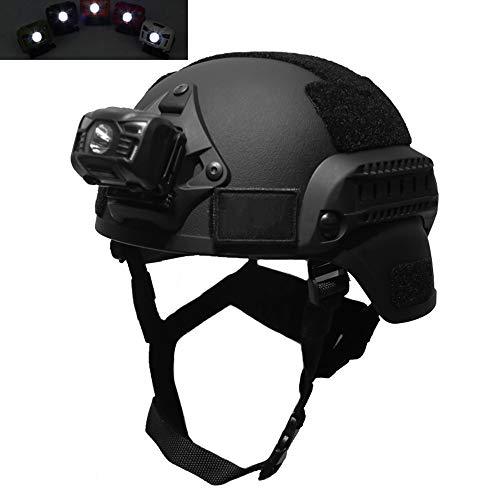 Casco Táctico Rápido con Linterna Fuerte y Luz de Casco LED para Exteriores Ligero CS Airsoft Paintball Army War Game Motocicleta Caza Casco Rápido Airsoft Paintball Hard Hat Negro