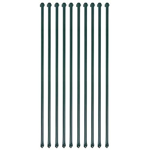 vidaXL Postes de jardín 10 unidades 1 m metal verde
