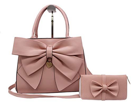 Women Handbag 2 Pcs Set Big Bow-Knot PU Leather Top Handle Bag Designer Tote Bag Clutch Wallet Set for Ladies, Pink