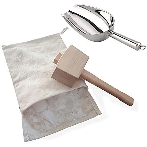 SOHOP Lewis Bag and Ice Mallet, bolsa de hielo reutilizable de algodón triturado, martillo de madera y cuchara de hielo de acero, kit de accesorios de cocina para aplastar hielo seco