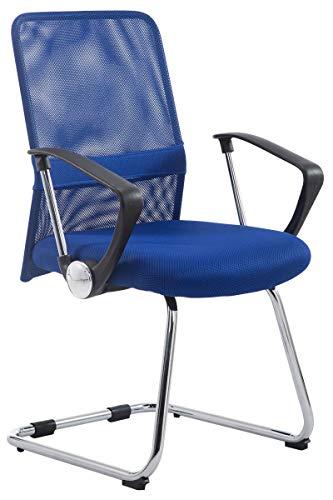 CLP Pitt Freischwinger I Konferenzstuhl Mit Metallgestell In Chrom-Optik Und Armlehnen I Wartezimmerstuhl Mit Atmungsaktivem Netzbezug, Farbe:blau