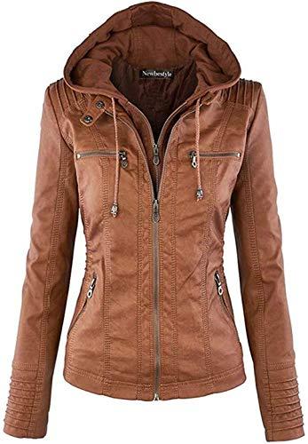 Newbestyle Jacke Damen Lederjacke Frauen mit Zip V Ausschnitt Kunstleder Bikerjacke Jacket Casual Übergangsjacke (Normale EU-Größe) (Braun, M/40)