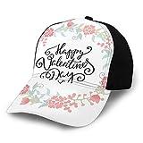 FULIYA Gorra de béisbol lisa lavada, arreglos florales brotes, rosas, tulipanes, amor, San Valentín, corazones, retro, ajustable, regalo para hombres y mujeres