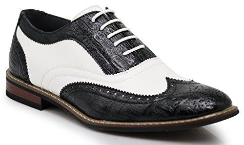 Men's Classic Italy Modern Oxford Wingtip Captoe 2-Tone Lace Dress Shoes (13, CONRAD3_Black/White)