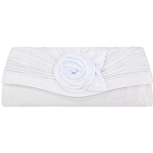 Bolso de mano para mujer, de satén, plisado, con diseño de flores, de raso, plisado, con solapa de satén, bolsa de noche plisada de flores de satén, White (Blanco) - N00173ZS