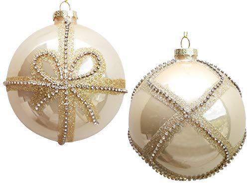 Werner Voss 2er Set Glas-Weihnachtskugeln 10 cm Champagner Gold mit Strass Christbaumkugeln - Weihnachtsschmuck-Christbaumschmuck edel Anhänger