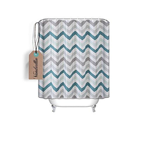Vandarllin Chevron Pattern Design Fabric Shower Curtain Small Stall Size 36 x 72- Assorted Colors(Aqua,Grey)