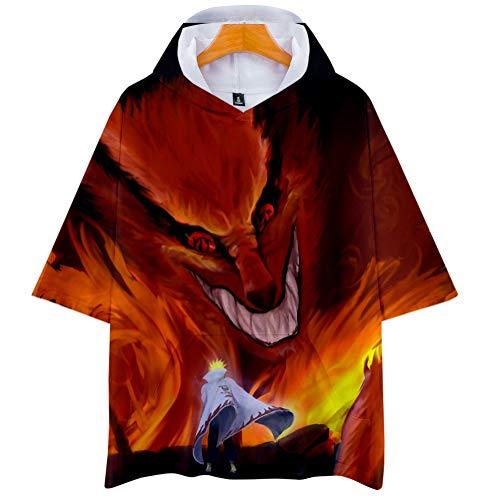 Naruto Cosplay Sudadera con Capucha de Manga Corta Video Juego Aficionados T-Shirt Pop Anime Logo Camiseta tee Tops Regalo hacia Hombre Mujer Niño Niña,Negro,XS