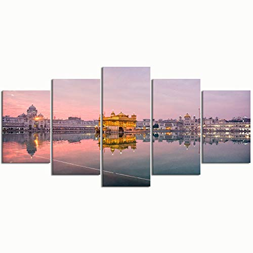 PENGTU Paintings Modern Canvas Painting Wall Art Pictures 5 Pieces, Golden Temple Amritsar Sunset Punjab India,Wall Decor HD Printed Posters Frame