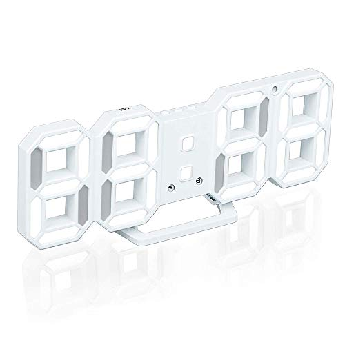 Petilleur 3D Digital Alarm Clock,Wall LED Number Time Clock with 3 Auto Adjust Brightness Levels,Led Electronic Clock with Snooze Function,Modern Night Light Clock Date,Temperature Display (White)