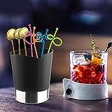 Caja de cubiertos de plástico premium Caja de cuchara para popotes para el hogar (Negro)