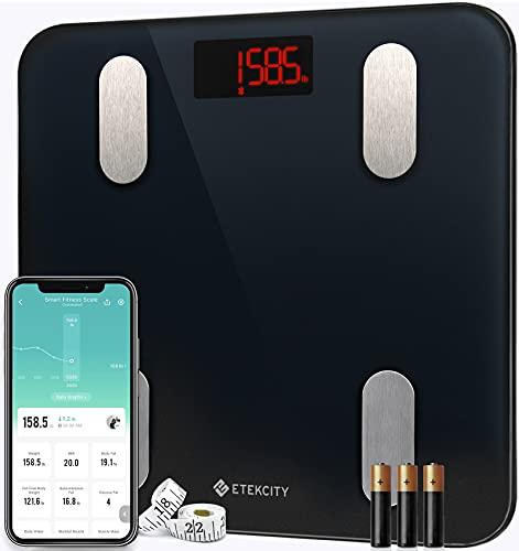 Etekcity Körperfettwaage, Waage Personen mit APP, Körperanalysewaage mit Bluetooth für Gewicht, Körperfett, BMI, BMR, Muskelmasse, Protein usw, Inkl.Maßband und Batterien, IOS & Android, Schwarz