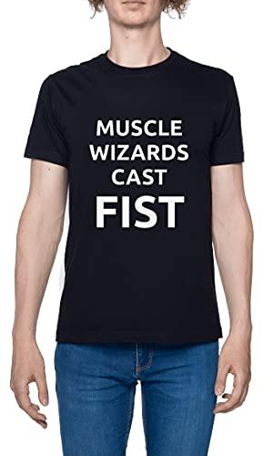 Muscle Wizards Cast Fist Camiseta para Hombre Negro De Manga Corta Ligera Informal con Cuello Redondo Men's Tshirt Black XXL