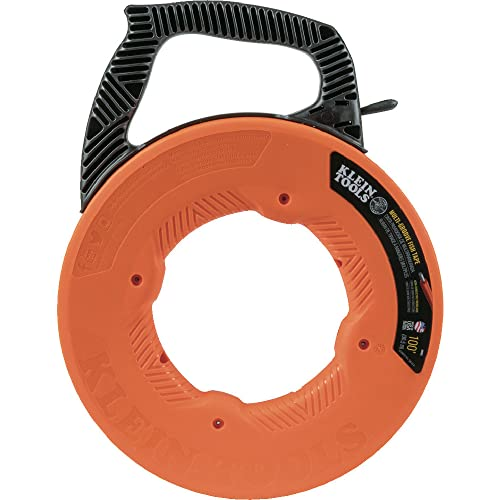Klein Tools 56383 Fish Tape, Multi-Groove Fiberglass Wire Puller with Nylon Tip, Optimized Housing and Handle, 100-Foot x 0.182-Inch