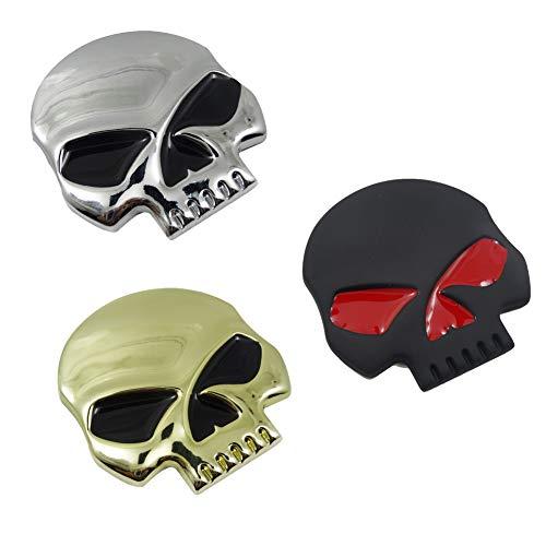 3D Metallschädel Autoaufkleber-Auto & Motorrad-Aufkleber Schädel Emblem Aufkleber Auto Styling Zubehör Abziehbilder (DREI)