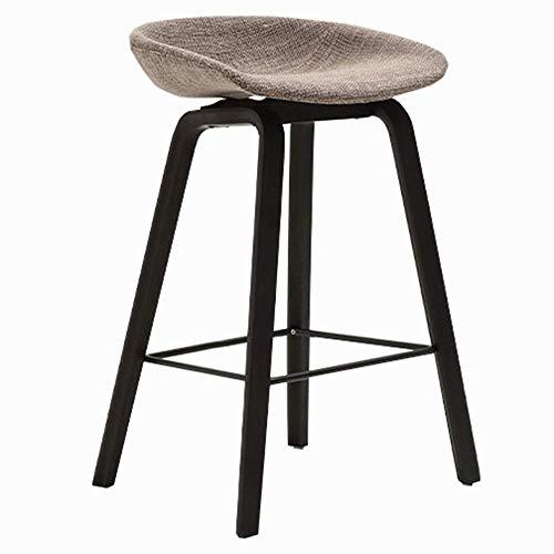 JIEER-C leerstoel barkruk keukenstoel linnen kussen bar keukenstoel massief houten poten draaggewicht 150kg eenvoudige zithoogte 65cm (kleur: lichtgrijs, maat: B) B bruin
